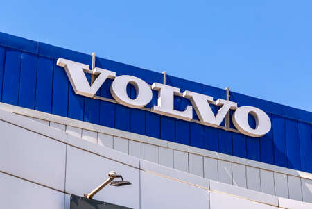 Samara, Russia - May 29, 2020: Volvo dealership sign on the office of official dealer. Volvo is a Swedish multinational automaker company Editorial