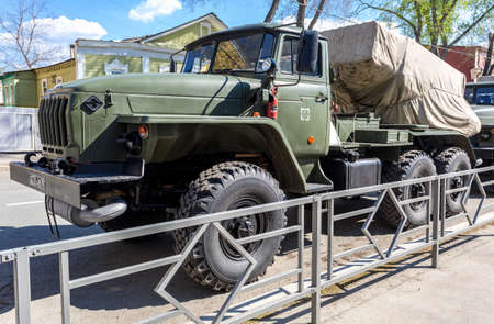 Samara, Russia - May 4, 2019: BM-21 Grad 122-mm Multiple Rocket Launcher on Ural-375D chassis at the city street
