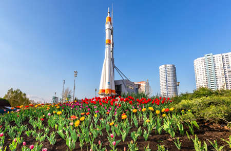 Samara, Russia - May 4, 2019: Real Soyuz type spacecraft as monument and exhibition center of space exploration