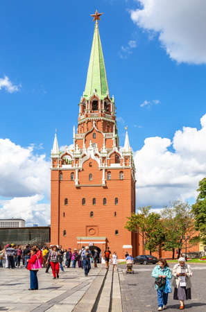 Moscow, Russia - July 7, 2019: Tourists go to the Moscow Kremlin through the Borovitskaya Tower Editorial