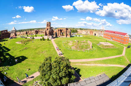 Shlisselburg, Russia - August 8, 2018: Historical medieval Oreshek fortress is an ancient Russian fortress. View from the wall of citadel
