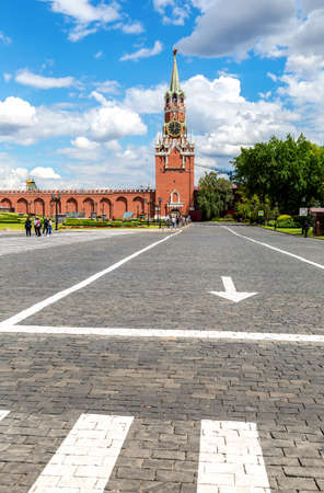 Moscow, Russia - July 9, 2019: View of the Spasskaya Tower from the Moscow Kremlin. Moscow architecture of world tourism Editorial