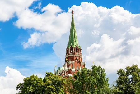 View of the Borovitskaya tower of the Moscow Kremlin on a cloudy sky. Moscow attractions of world tourism