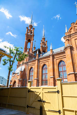 Roman Catholic church. Parish of the sacred Heart of Jesus. Was built in 1906 in Samara, Russia 免版税图像