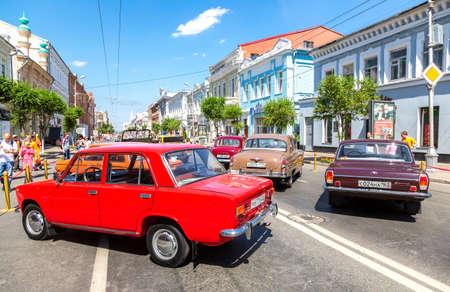 Samara, Russia - June 12, 2019: Soviet retro cars parked up at the city street