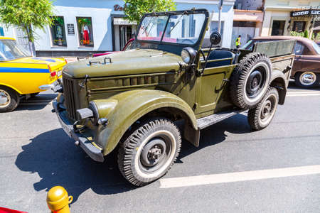 Samara, Russia - June 12, 2019: Off-road vehicle GAZ 69. Exposition of retro cars on the central street in Samara