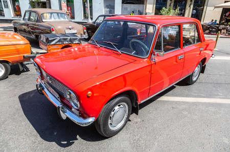 Samara, Russia - June 12, 2019: Soviet retro car Lada 2101 parked up at the city street