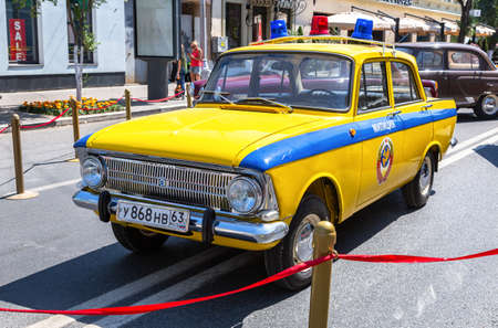 Samara, Russia - June 12, 2019: Vintage Soviet police automobile Moskvich 412 parked up at the city street Editorial
