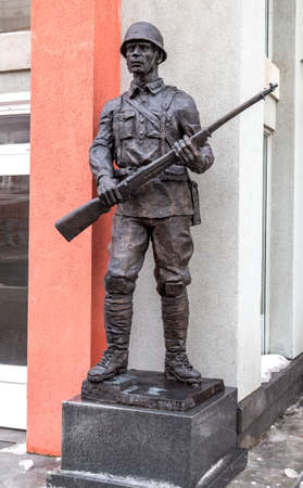 Samara, Russia - March 10, 2019: Sculpture of the soldier of the Red Army