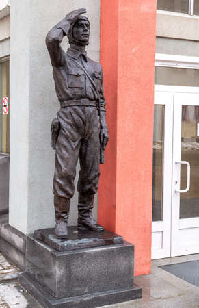 Samara, Russia - March 10, 2019: Sculpture of the soldier of the Soviet Air Force