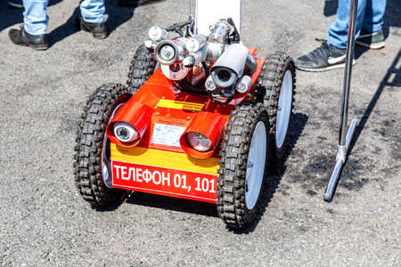 Samara, Russia - May 1, 2019: Fire fighting robot. Mobile autonomous wheled vehicle firefighter Editorial