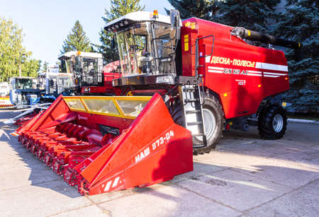 Samara, Russia - September 23, 2017: Modern agricultural machinery. Combine-harvester Desna-Polesye GS12 with reaping Publikacyjne