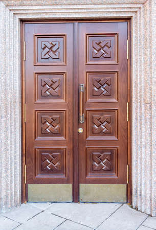 New massive wooden gate of the orthodox cathedral