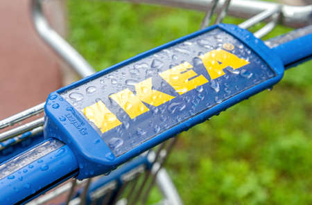 Samara, Russia - July 26, 2016: Shopping cart of IKEA store. IKEA is the world's largest furniture retailer, founded in Sweden. Selective focus Redactioneel