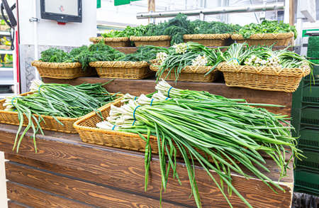 Fresh green onions are sold at the grocery store. Fresh vegetables at the markets Standard-Bild