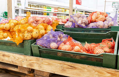 New harvest onions in nets are sold at the grocery store