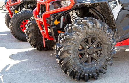 Samara, Russia - May 13, 2017: Wheels of atv quad bikes with all terrain tires Redakční