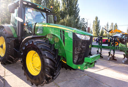 Samara, Russia - September 23, 2017: John Deere 8335 R agricultural tractor on display at the annual Volga agro-industrial exhibition