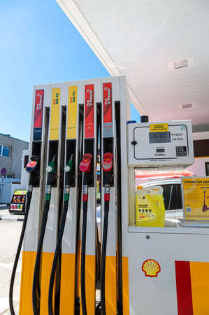 Samara, Russia - June 18, 2021: Filling the column with different fuels at the Shell gas station