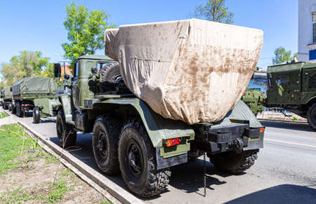 Samara, Russia - May 6, 2021: BM-21 Grad 122-mm Multiple Rocket Launcher on Ural-375D chassis at the city street