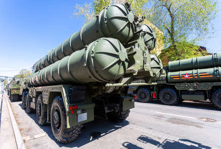 Samara, Russia - May 6, 2021: Russian anti-aircraft missile system (SAM) S-400 Triumph on the city street Editorial