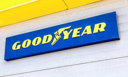 Samara, Russia - July 2, 2021: Goodyear signboard of American multinational tire manufacturing company