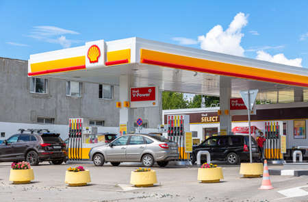 Samara, Russia - July 2, 2021: Shell gas station in sunny day. Shell V-power fuel station. Royal Dutch Shell is an Anglo-Dutch multinational oil and gas company Editorial