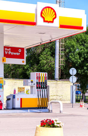 Samara, Russia - July 4, 2021: Shell gas station in sunny day. Shell V-power fuel station. Royal Dutch Shell is an Anglo-Dutch multinational oil and gas company