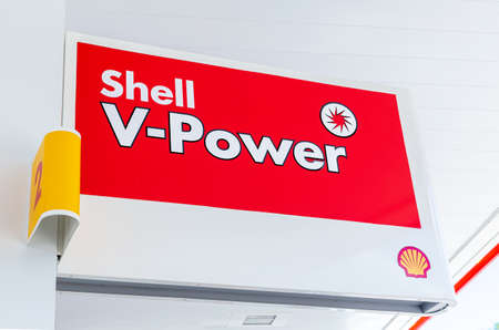 Samara, Russia - July 4, 2021: Shell V-power signboard at the Shell fuel station. Shell gas station