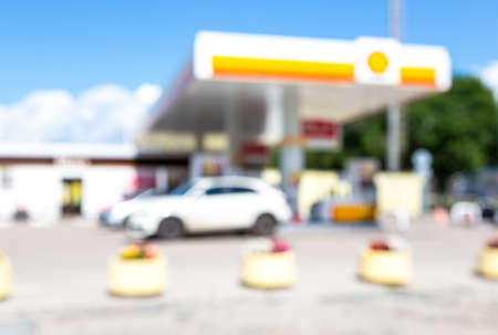 Blurred and soft of gas station with blue sky in summer Standard-Bild