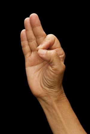inteligible: Lenguaje de señas americano (ASL) utilizado para la letra f utilizada por los sordos y mudos de sociedad