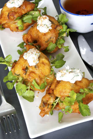teacake: Vegetable Fritters Stuffed with Water Cress