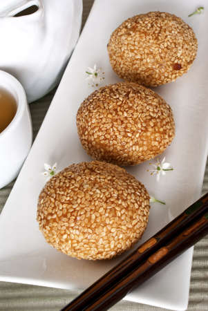 Red Bean Pastries coated with Sesame Seeds Stock Photo - 9251767