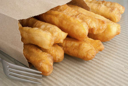 Fried Crullers in Brown Take Away Bag