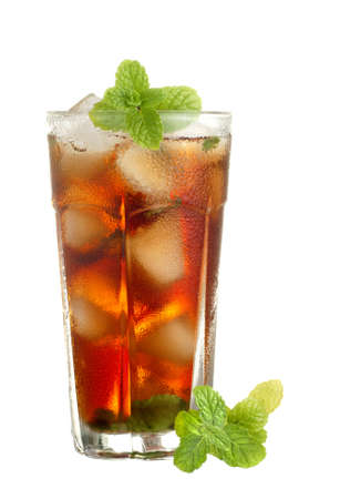 chilled: Chilled Mint English Tea with Real Ice Cubes Stock Photo