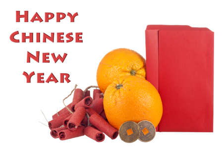 Oranges, Lucky Coins and Firecrackers with Blank Ang Pows for Copy Space photo