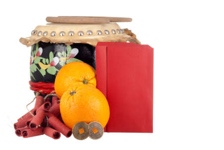 Lucky Coins, Firecrackers, Oranges, Drumset and Blank Angpows for your Text photo