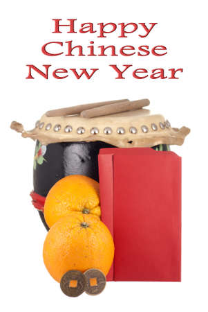 Lucky Coins, Oranges, Drumset and Blank Angpows for your Text photo