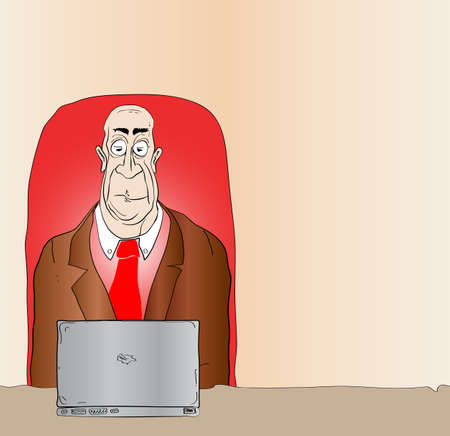 senior citizen: Cartoon Man Reading Email with Copy Space - Raster