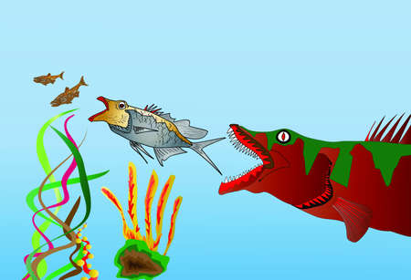 Fish Eat Fish Raster with Copy Space Stock Photo