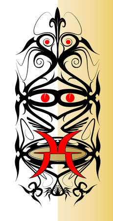 Iban Tribal War Long Shield Design Vector Vector