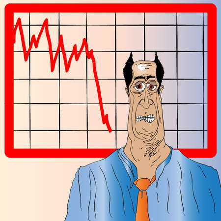 collapsing: Cartoon Businessman with Pointy Hair Vector