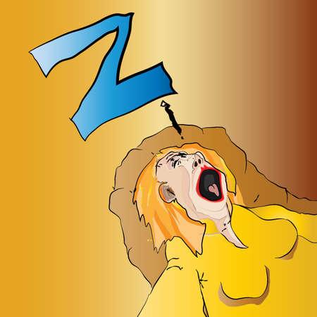 Cartoon Dozing Woman Vector Vector