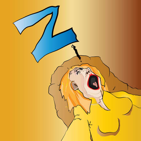 dozing: Cartoon Dozing Woman Vector Illustration