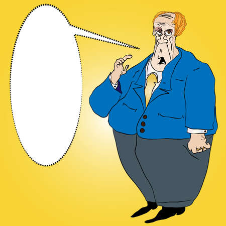 greedy: Fat Short Man in a Blue Suit  Illustration