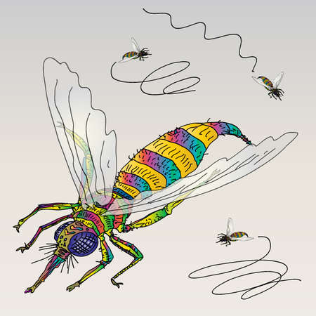 corny: One Annoying Fly with Pink Tongue  Illustration