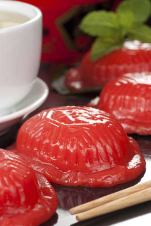 known: Ang Ku Kueh also known as the Red Tortoise Cake Stock Photo