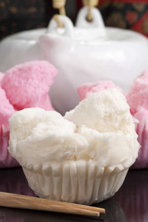 steamed: Chinese Steamed Rice Cupcakes Stock Photo