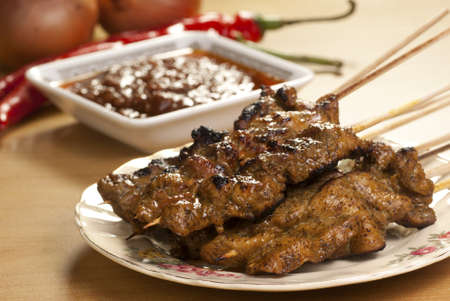 malaysian food: Meat Sate Stock Photo