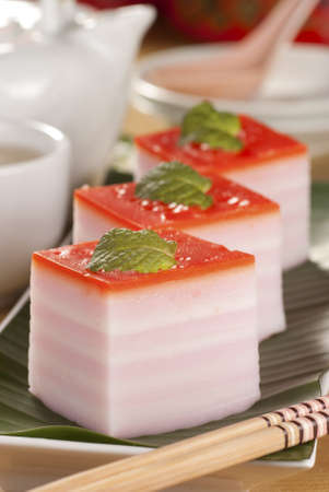 known: Steamed Layered Cake also known as Kuih Lapis Stock Photo